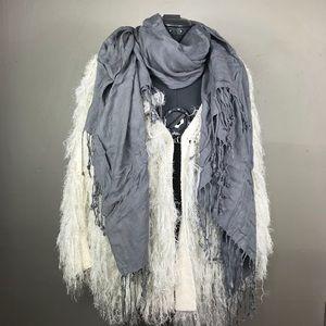 Grey Gray Long Blanket Warm Fall Tassel Scarf
